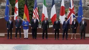 Líderes del G7, foto oficial, cumbre G7, Teatro Antiguo de Taormina, Italia