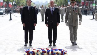 Macron, hollande, homenaje, acto oficial, victimas, segunda guerra mundial