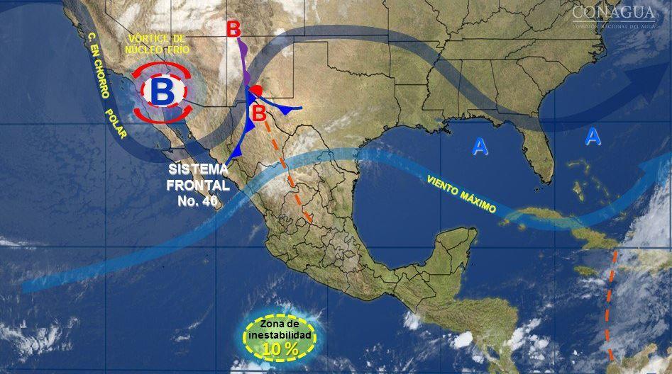 mapa con el pronostico del clima para este 8 de mayo