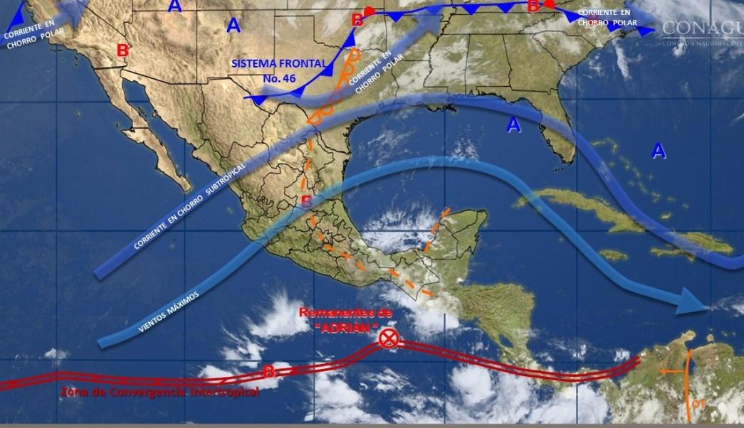 Imagen de fenómenos meteorológicos en el país. (Twitter @conagua_clima)