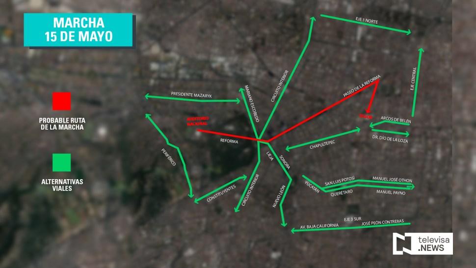 Mapa por donde avanza la marcha en Reforma