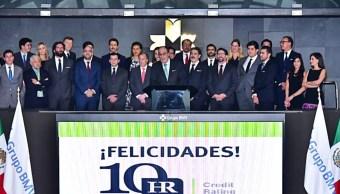 El secretario de Hacienda, José Antonio Meade, en la BMV.(Twitter: @JoseAMeadeK)