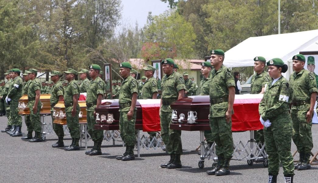 Homenaje a los cuatro militares que murieron en Puebla (Notimex)