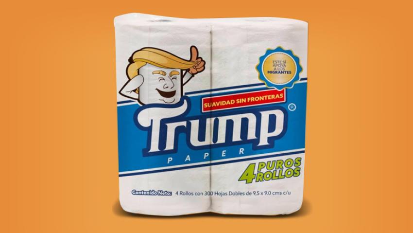 papel marca trump, papel del baño Trump, papel higienico
