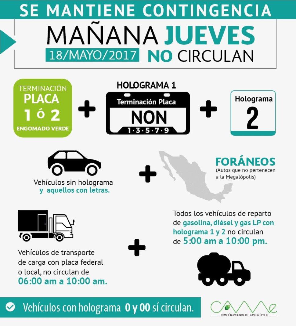Contingencia ambiental Ciudad de México 18 de mayo