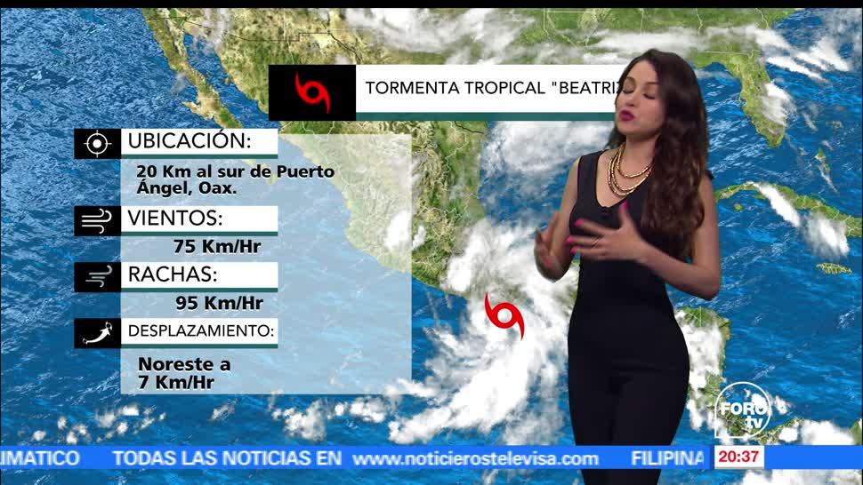 El Clima, condiciones climatológicas, Mayte Carranco, viernes, tormenta tropical, beatriz