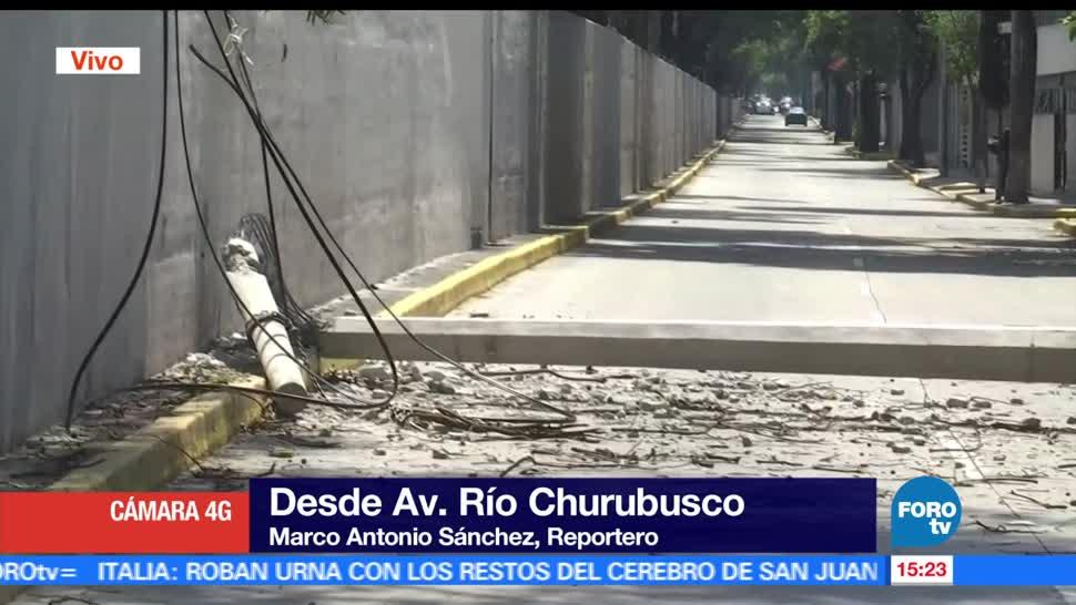 Cae poste, avenida Río Churubusco, afecta, circulación