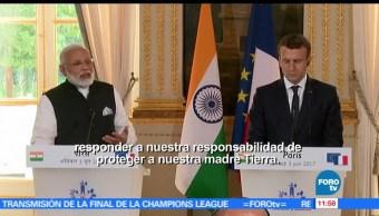 Emmanuel Macron, Narendra Modi, París, compromiso, cambio climático