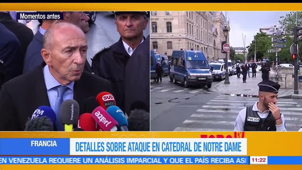 hombre, policía, explanada de la catedral, Notre Dame, París