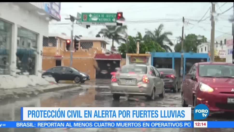 condiciones lluviosas, Campeche, Protección Civil, monitoreo, entidad