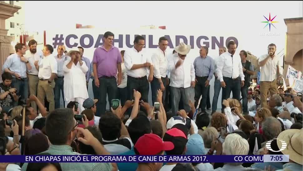 Marchan opositores, capital de Coahuila, votos, elección, gobernador