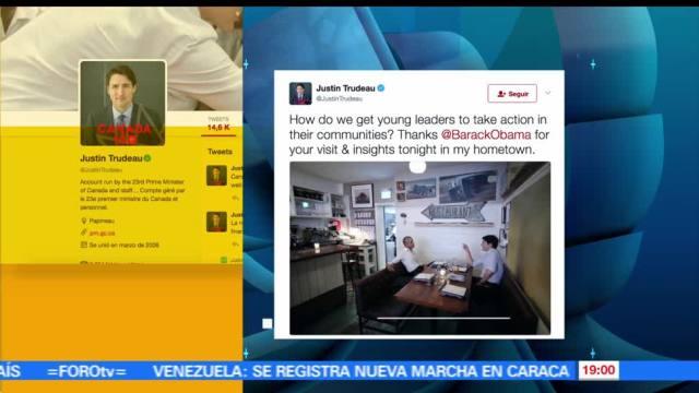 Justin Trudeau, Barack Obama, cenan, Montreal, Canada, Twitter