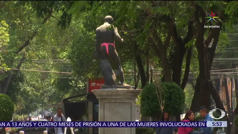 esculturas de bronce, camellón, avenida Álvaro Obregón, vandalizadas, aerosol