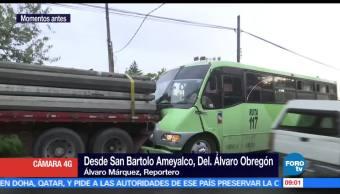 trasporte público, tráiler, avenida San Bartolo Ameyalco, Álvaro Obregón