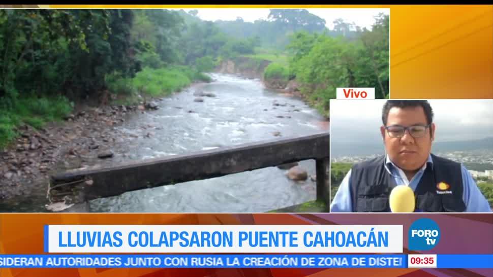 Lluvias, colapsan puente, Cahoacán, Chiapas