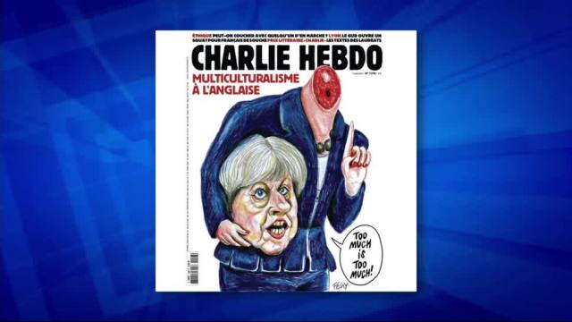 Revista, satírica francesa, presenta portada, Theresa May, decapitada, charlie hebdo