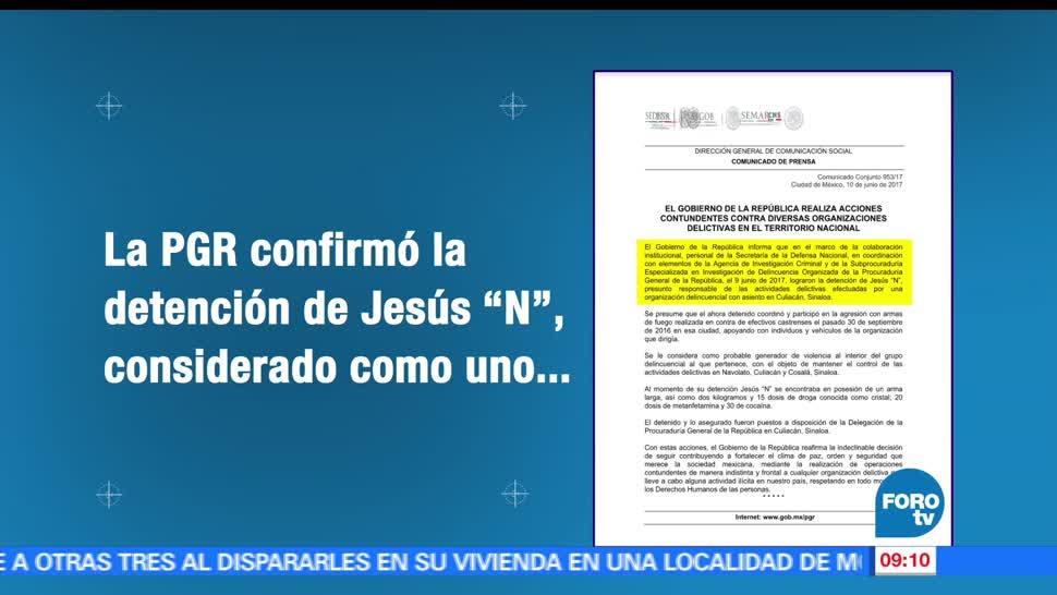 PGR, detención de Jesús, operadores de Archivaldo Iván Guzmán, Joaquín 'El Chapo' Guzmán