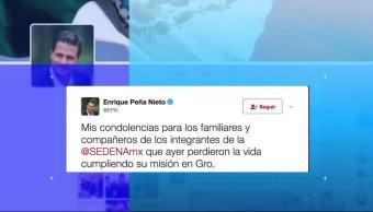 Enrique Peña Nieto, Gobierno federal, condolencias, San Miguel Totolapan