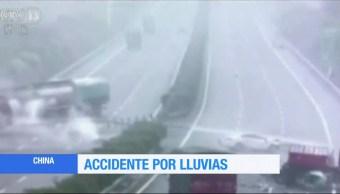 Accidente, china, lluvias,
