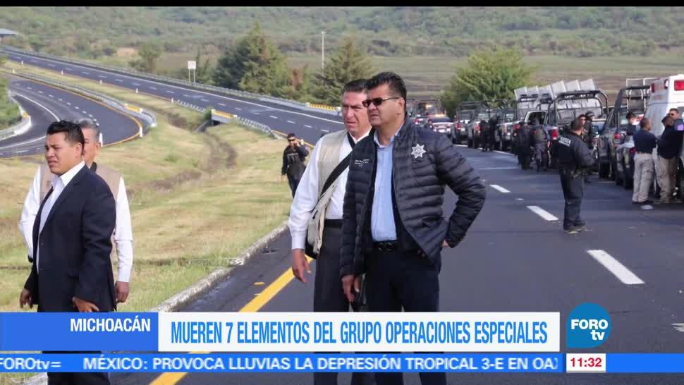 7 elementos, Grupo de Operaciones Especiales, Michoacán, accidente carretero
