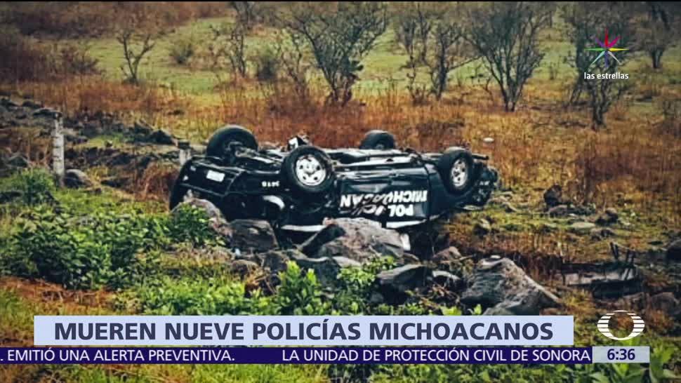 Michoacán, policías, cuerpo de élite, volcadura, camioneta
