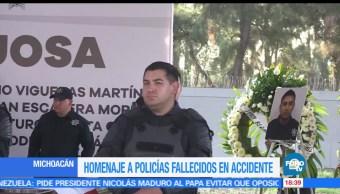 Rinden, homenaje, policías fallecidos, Michoacán