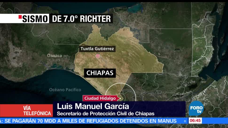 Luis Manuel García, Protección Civil, Chiapas, sismo, Ciudad Hidalgo