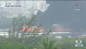 noticias, forotv, Tormenta Calvin, refinería, Salina Cruz, provoca incendio