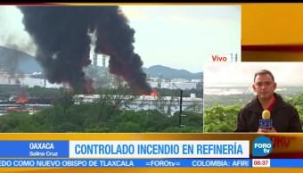 Autoridades, suspenden clases, incendio, refinería de Salina Cruz, Oaxaca