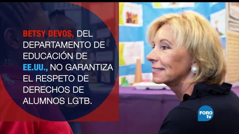 Estados Unidos, Betsy Devos, abandona, estudiantes, comunidad, LGBT