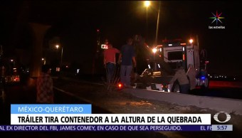 Vuelca, contenedor, tráiler, México-Querétaro