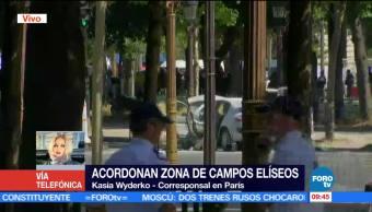 Policía, zona de Campos Elíseos, vehículo, patrulla, París