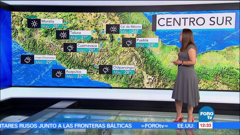Temperaturas, grados centígrados, Ciudad de México, probabilidad de lluvia