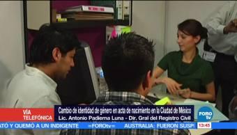 Antonio Padierna Luna, director general del Registro Civil, acta de nacimiento, identidad de género