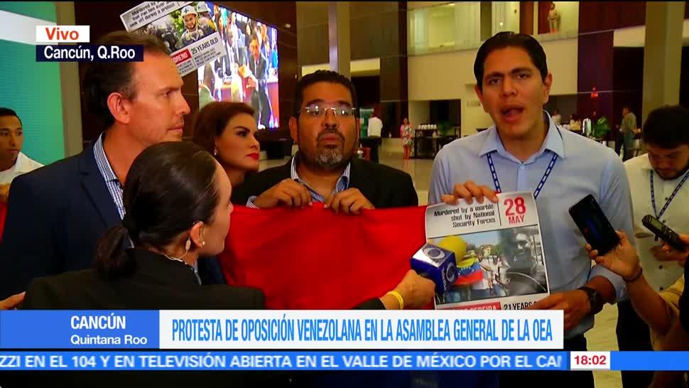 Diputados, venezolanos, interrumpen, sesión de la OEA, ultimo día , cancún