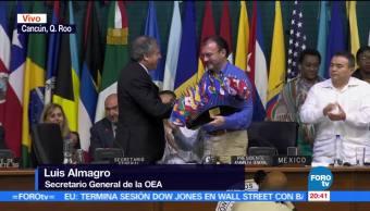 Entregan, reconocimiento, Luis Videgaray, reunión, OEA, cancún