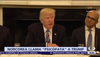 diario oficial de Norcorea, psicópata, presidente de Estados Unidos, Donald Trump