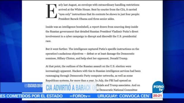 noticias, forotv, CIA, Obama, Putin, Trump