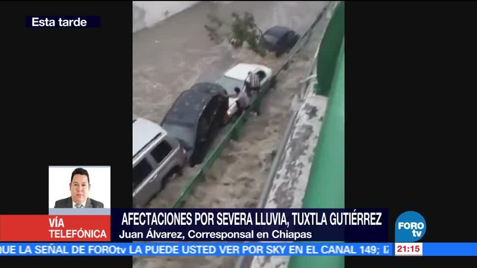 Afectaciones, intensas, lluvias, Tuxtla Gutiérrez, tormenta, granizada