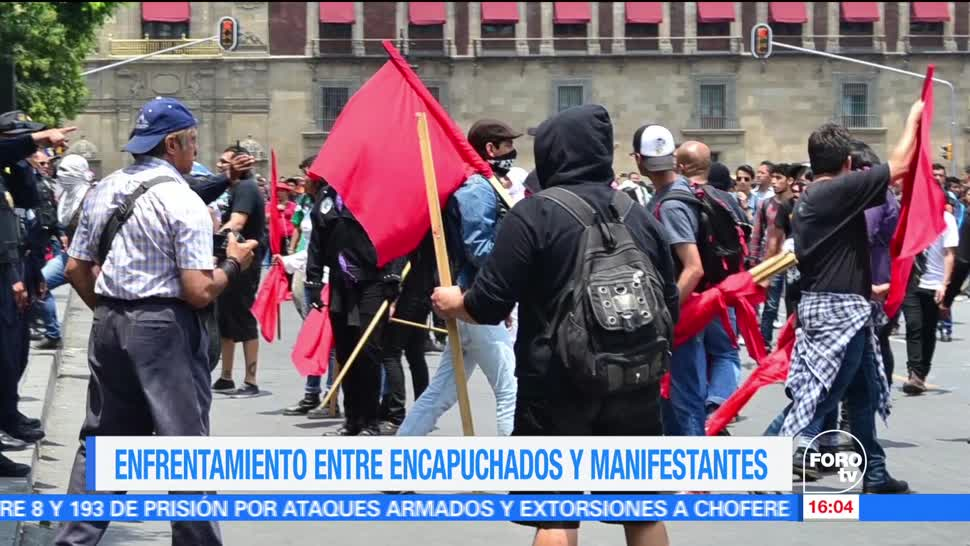 Encapuchados, enfrentan, manifestantes, marcha gay CDMX, encapuchados, anarquistas