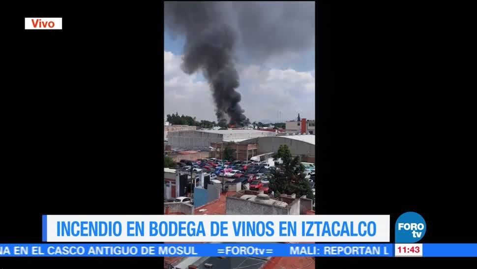 incendio, bodega de vinos, colonia Granjas México, delegación Iztacalco