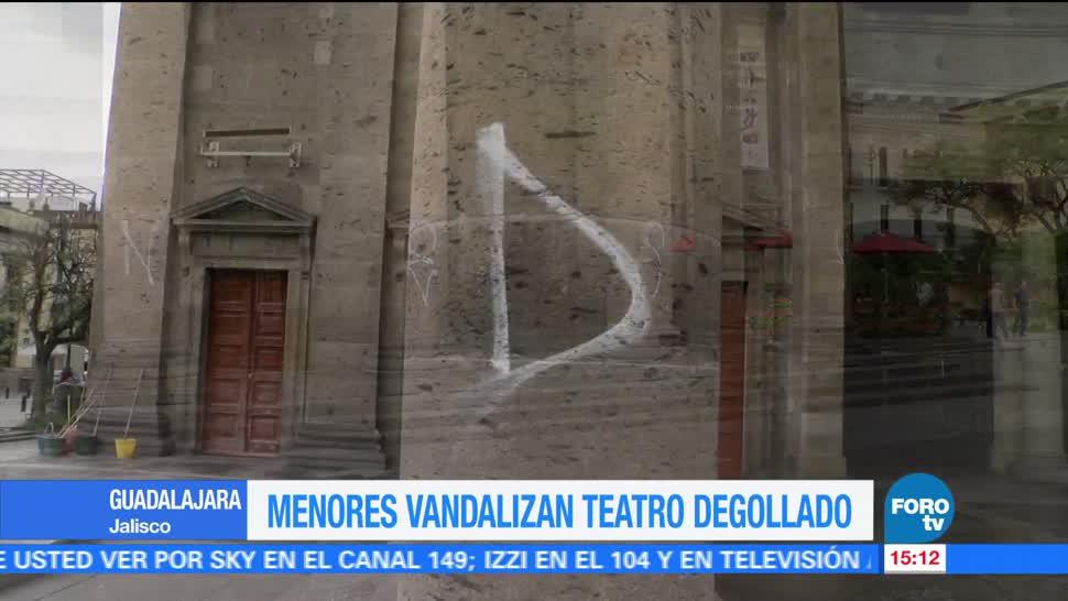 Menores, vandalizan, Teatro Degollado, Guadalajara