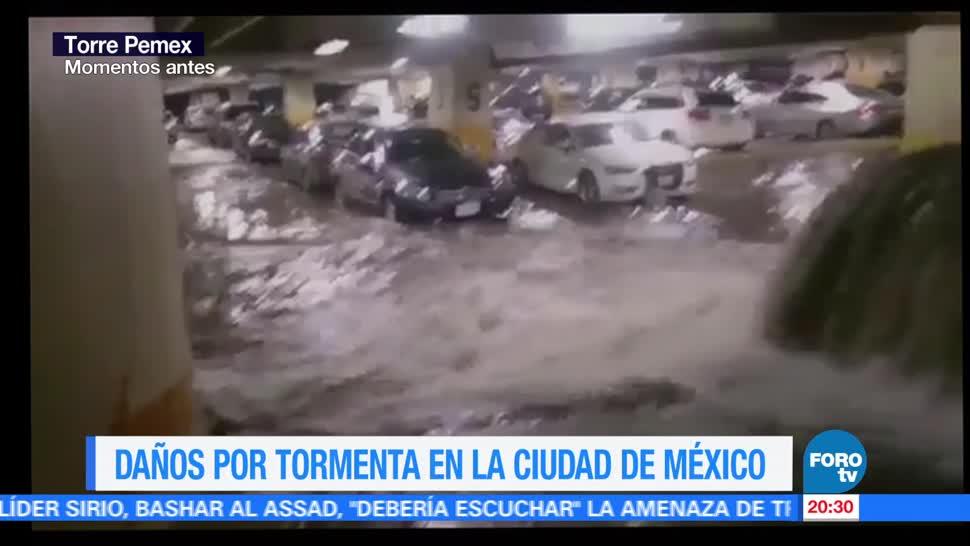 noticias, forotv, Se inunda, estacionamiento, Torre de Pemex, CDMX