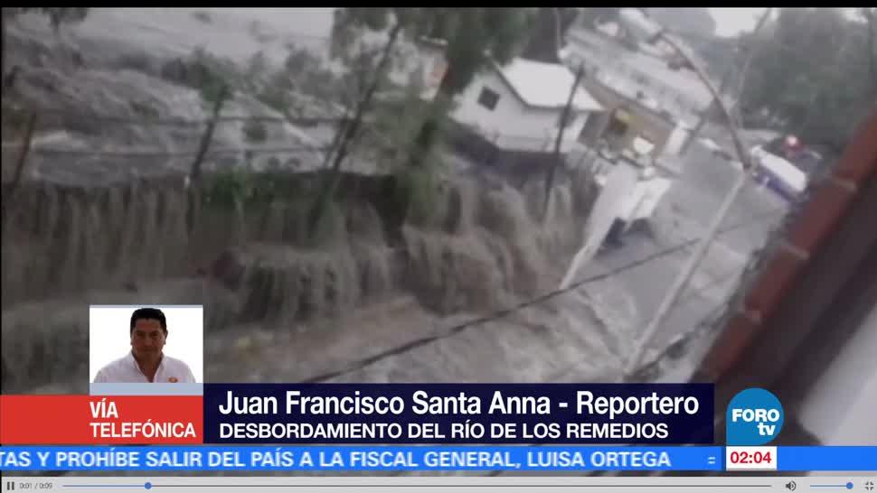 noticias, forotv, Desborda, río de Los Remedios, fuerte lluvia, Valle de México
