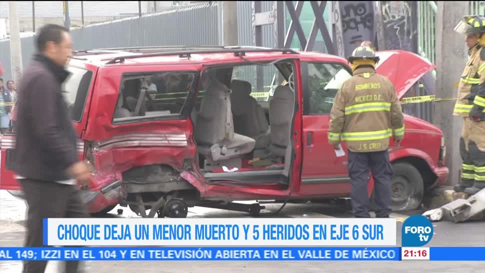 noticias, forotv, Choque, menor muerto, 5 heridos, CDMX