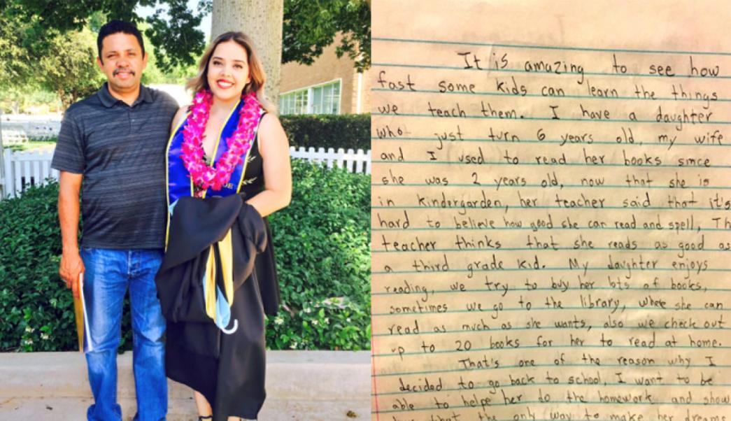 Gabby posa el día de su graduación junto a su padre