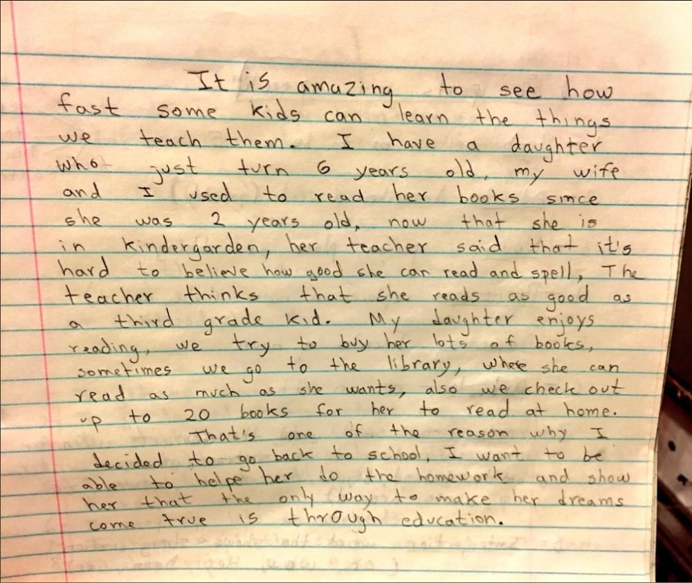 carta escrita por un inmigrante que decidió apoyar la educación de su hija