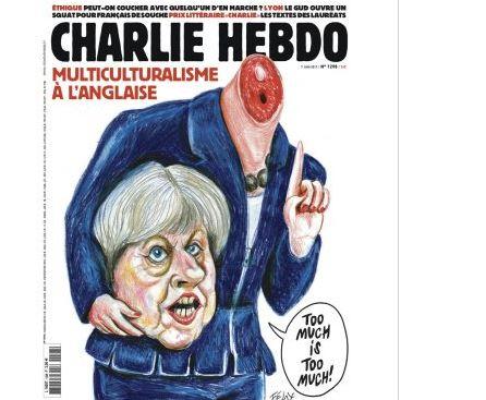 Revista Satirica Francesa Charlie Hebdo, Controversia, Sede En Paris, Ataque Yihadista, Portada, Primera Ministra Britanica Theresa May, Decapitada, Reino Unido, Televisa, Noticieros Televisa, Televisa News