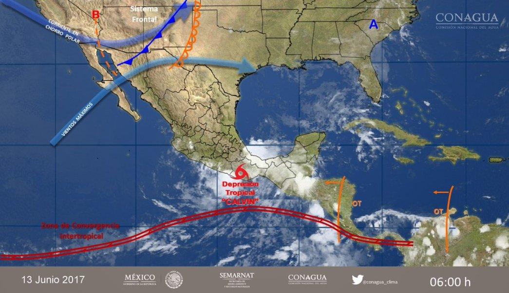 Clima, Calvin, Tormenta tropical, depresión tropical, Oaxaca, lluvia