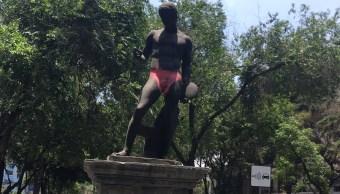 Doríforo, Discóbolo, graffiti, escultura, CDMX, colonia roma, seguridad